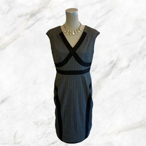 Laura Petites | Black Strip Accented Gray Dress